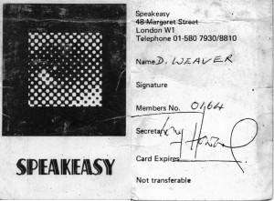 Speakeasy Membership Card